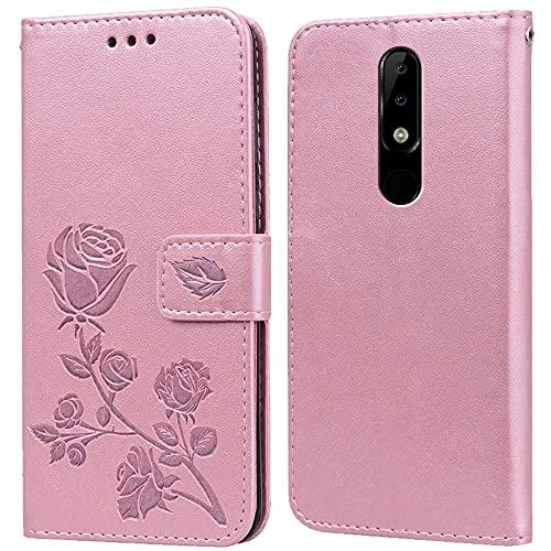 Hülle für Nokia 5.1 Plus,Handyhülle für Nokia 5.1 Plus,Klappbar Tasche Hülle,Standfunktion,Kartenfach,Silikon Bumper,Stoßfeste Schutzhülle Cover für Nokia 5.1 Plus(5.86
