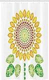 ABAKUHAUS Weiß Schmaler Duschvorhang, Sonnenblume Mandala Design, Badezimmer Deko Set aus Stoff mit Haken, 120 x 180 cm, Gelb, Weiß & Grün