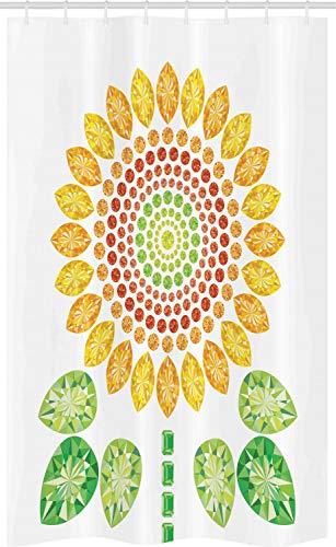 ABAKUHAUS Zonnebloem Douchegordijn, Zonnebloem Mandala Ontwerp, voor Douchecabine Stoffen Badkamer Decoratie Set met Ophangringen, 120 x 180 cm, Geel Wit en Groen