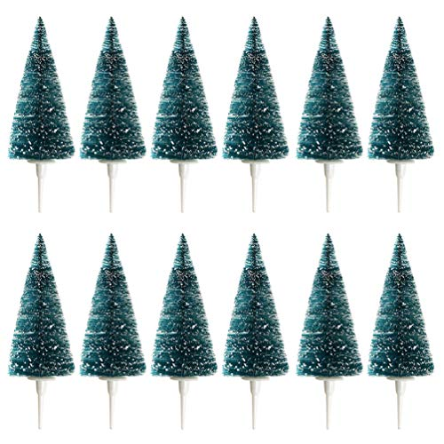 Mini Snow Frost Christmas Tree Cupcake Toppers Decorations,12pcs