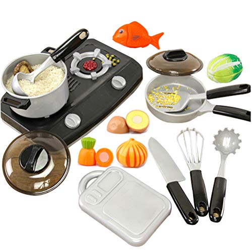 OMGOD 14 PCS Kitchen Playsets, Play House Toy Breakfast Stove Pots Utensils and Pans Food Pretend Cookware Cooking Play Kitchen Set Playset for Kids Girl Boy Toddlers Birthday (Gray)