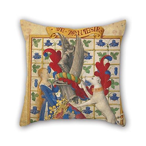 Olieverfschilderij Jean Fouquet (Frans, geboren ongeveer 1415 - 1420, gestorven voor 1481) - Wapen gehouden door een vrouw en een Greyhound kussen Shams Beste voor Verjaardag Vader Slaapkamer Gf Tieners Meisjes Office 18 X