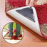 paryavaran Rug Grippers 8Pcs Anti Skid Rug Pad Triangle Double Sided Adhesive Carpet Tape Single Size Black