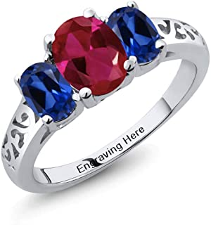 925 Sterling Silver Engagement Promise Customized and Personalized 3 Birthstone Name Engraved Couple Build Your Own For Her Ring (Available in size 5,6,7,8,9)