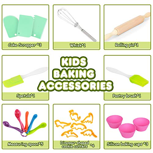 Aoskie Kids Baking Set with Dinosaur Apron, Chef Dress Up Kitchen Role Play Toys for Little Boys Girls 3-8 Years Old