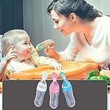 Biberón de silicona para bebés con cuchara Cuchara Alimentador de cereal de arroz 90ML Alimentador de leche fresca Herramientas de alimentación - Rosa