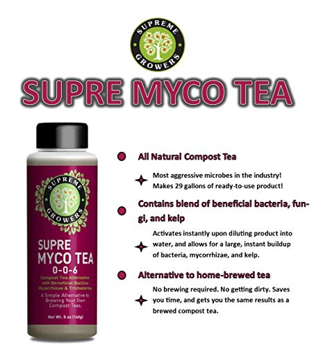 Supre Myco Tea All Natural Compost Tea Concentrate by Supreme Growers Beneficial Bacteria and Fungi with Bacillus Mycorrhizae Trichoderma to Enhance Soil 5oz Bottle Makes 29 Gallons