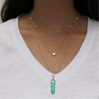 BAILIANHUA Vintage Opal Necklace Multilayer Crystal Heart Pendant Necklace Personality Bohemian Style