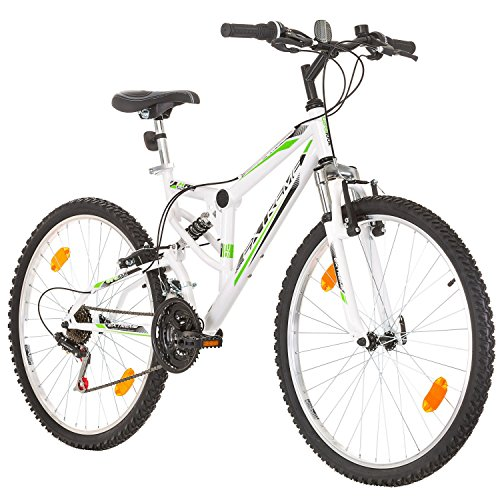 Multibrand Distribution Probike Extreme 26 Zoll Fahrrad Mountainbike Vollfederung Shimano 18 Gang Herren-Fahrrad, Damen-Fahrrad, Jungen-Fahrrad Mädchen-Fahrrad, geeignet ab 155 – 180 cm (Weiß)