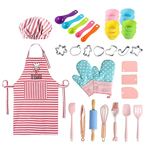 BBplusDD Kids Baking and Cooking Sets - 38 Pcs Real Baking Supplies for Junior Chef Includes Kids Apron and Chef Hat, Oven Mitts, Baking Utensils - Complete Gift Cooking Kits for The Curious Child