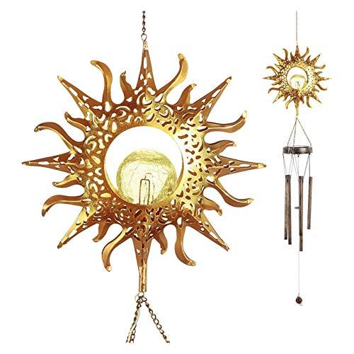 HongTeng-Lámparas solares Lámpara de Chime de Viento Solar, decoración al Aire Libre, decoración al Aire Libre, Bola de Cristal Agrietada, con luz LED, Adecuado para jardín Terraza de Patio