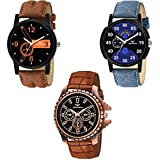 BEARDO Analogue Men's & Boy's Watch (Assorted Dial Multi Colored Strap) (Pack of 3)