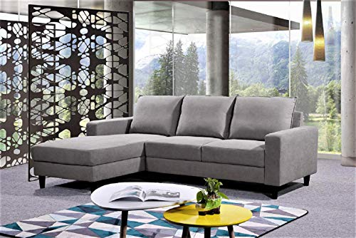 Container Furniture Direct Pamila 93 5 ' Mid Century Modern Upholstered Sectional Sofa, Left Facing, Gray
