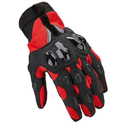 Guantes de Moto Guantes de Moto de Pantalla táctil de Verano Transpirables de Dedo Completo para Mujer-Rojo, M