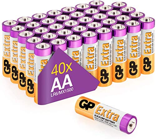 Batterie AA - Set da 40   GP Extra   Pile Stilo AA Alcaline da 1,5V / LR06 - Lunga Durata