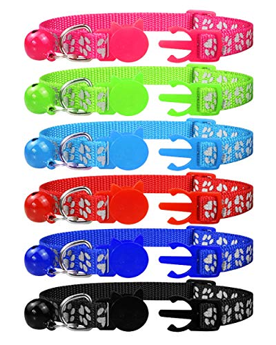 Dynmeow 6 Pack Reflective Paw Print Cat Collar Breakaway with Removable Bell