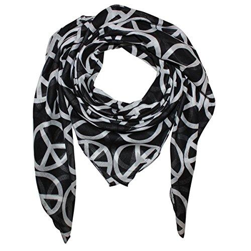 Superfreak® Baumwolltuch mit Peace Muster°Tuch°Schal°Peacetuch°100x100 cm°100% Baumwolle, Farbe: schwarz/weiß