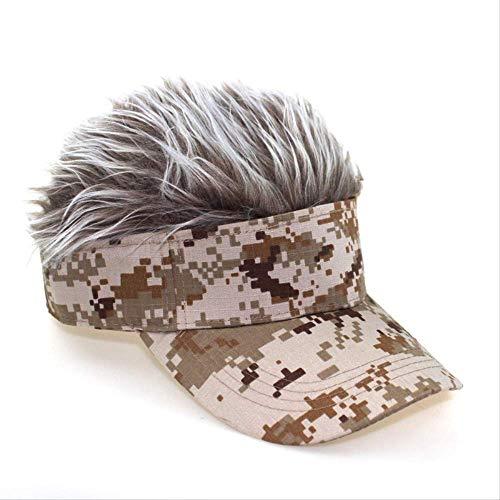 Chtom Gorro de béisbol para mujer, peluca de onda, esponjosa, gorra de béisbol, para hombre, divertida gorra de copa, decoración de sol, gorra de camuflaje (color: Gelber Hut rubio, tamaño: 5761 cm)