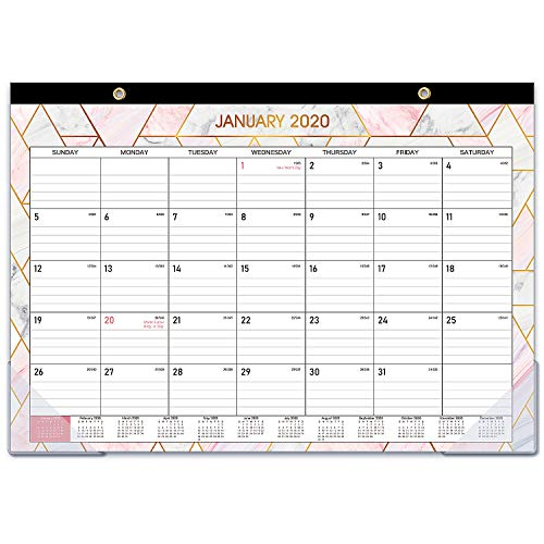 "2020-2021 Desk Calendar - 18 Months Desk/Wall Calendar 2020-2021 with Transparent Protector, Marble, 17"" x 12"", January 2020 - June 2021, Perfect for Daily Schedule Planner, Ruled Blocks"