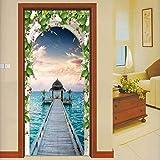3D-Türaufkleber für Innentüren PVC-selbstklebende Wandaufkleber für die Inneneinrichtung 77 * 200 cm Pavillon am Meer