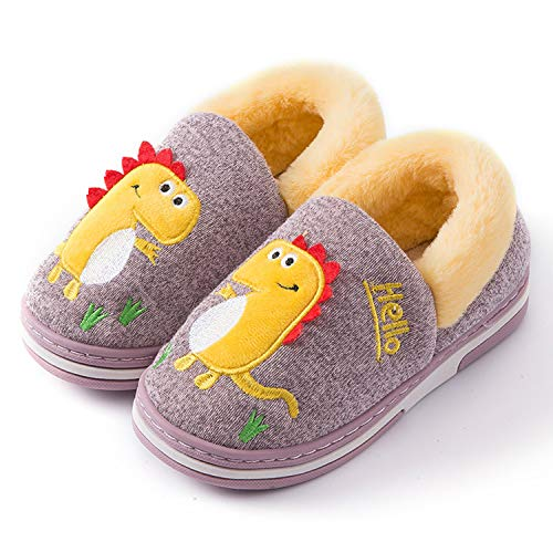 Zapatillas de Estar por Casa para Niños Zapatos Invierno Niñas Pantuflas Dinosaurio Bebé 31/32 EU(Etiqueta 32/33,Morado)