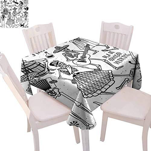 Mantel cuadrado mexicano impreso Día de los Muertos bailarines temáticos mujer y hombre esqueleto icono tocando música diseño mesa decorativa, 177,8 x 177,8 cm, color negro y blanco