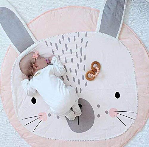 KIKOM Tapis Ramper bébé Tapis de jeu Animaux Coton Rond Tapis Pour Filles Garçons Eveil Enfants Decoration Chambre 90cm (Lapin rose)