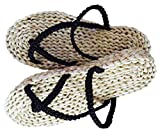 seemehappy Handmade Straw Sandals Flip Flops Beach Shoes Cosplay Woven Slippers (US9-10.5)