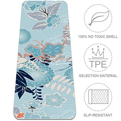 Esterilla de yoga de 72 pulgadas de largo, cómoda, para ejercicio, yoga, pilates, kimono de fondo con estampado de flores de grulla, certificado SGS TPE ecológico, antideslizante, 6 mm de grosor