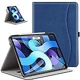 ZtotopCase Funda para iPad Air 10.9 2020, Carcasa de Cuero con Bolsillo y Soporte, Funda de Cuero Empresarial para iPad Air 4 - Azul Marino