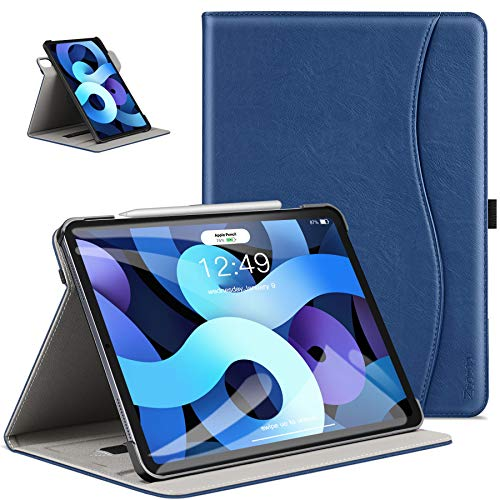 ZtotopCase Case for New iPad Air 4 10.9' Case 2020, Premium PU Leather Slim Folio Cover, Folding Stand 360° Rotating Viewing Angles for iPad 10.9' - Navy Blue