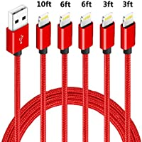 5-Pack Firsting (3ft,3ft,6ft,6ft,10ft) USB Fast Charging & Data Syncs Cable Compatible with iPhone 11 Pro, Xs, MAX XR, 8, 8 Plus, 7, 7 Plus, 6s (Red)