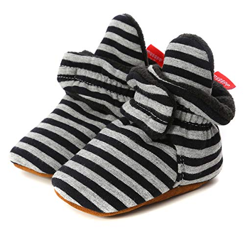 Borlai Newborn Baby Booties Non-Skid Winter Baby Shoes Cozy Shoes Infant First Walkers