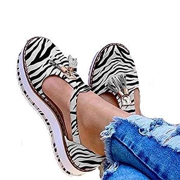 Women s Casual Platform Flat Comfort Shoes Closed Toe Sandals Ladies Casual Solid Shoes Fashion Fringe Buckle Strap  Zebra Stripe 40