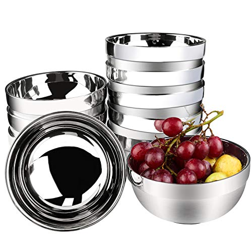 Stainless Steel Bowl, Kereda Stainless Steel Mixing Bowls 10 Pack Double Walled Insulated Metal Snack Nesting Bowl Set