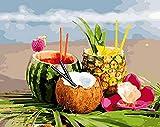 Pintura Digital De Bricolaje Sandía Piña Fruta Pintada A Mano Decoración Para El Hogar 40X50 cm