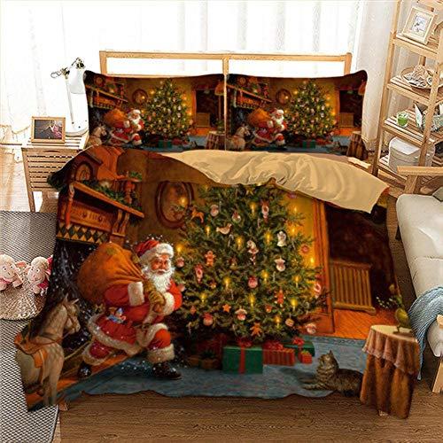 Juego de Ropa de Cama navideña para niños, Dibujos Animados en 3D, Regalo de Feliz Navidad, Funda nórdica de Santa Claus, Fundas de Almohada, tamaño Queen...