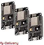 AZDelivery ⭐⭐⭐⭐⭐ 3 x NodeMCU Lua Amica Module V2 ESP8266 ESP-12E WiFi WiFi Development Board mit CP2102 und gratis eBook!