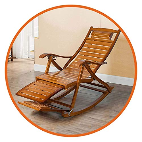 Sillón reclinable de bambú Plegable, Mecedora con Respaldo Ajustable de 6 velocidades, Silla portátil para Siesta para Ancianos, con Tablero de extensión y Masaje de pies