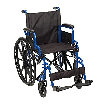 Drive Medical Blue Streak Wheelchair with Flip Back Desk Arms, Swing Away Footrests, 16 Inch Seat