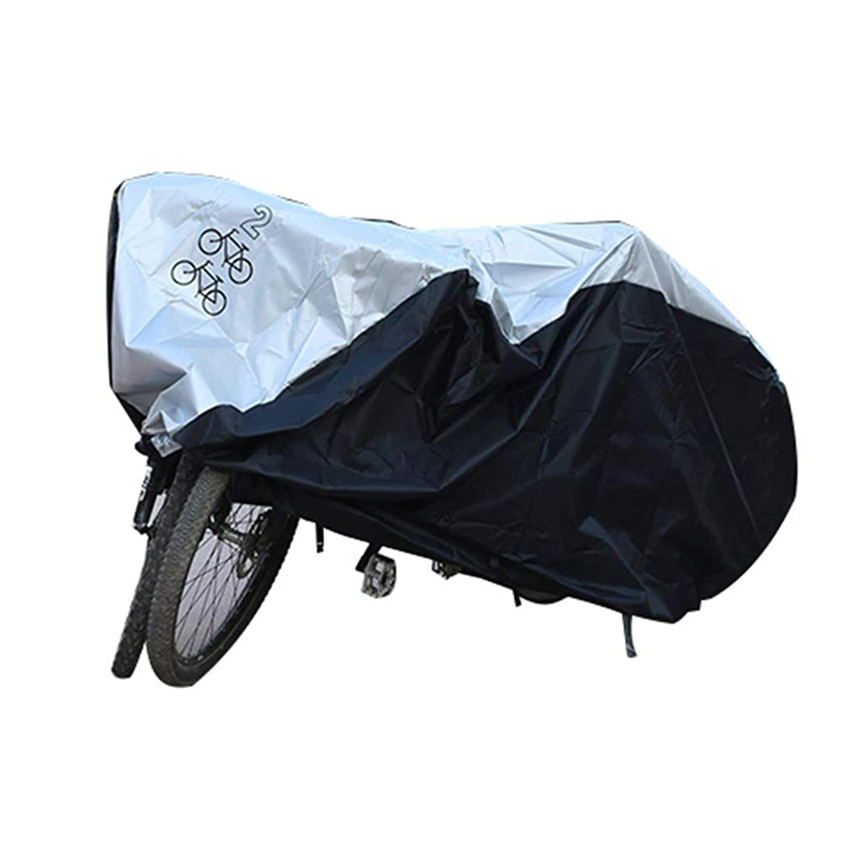 Waterproof Bike Cover Shade Net/Sunscreen Tarpaulin,Shade Sunscreen Anti-Oxidation Easy to Store, 3 Sizes, Silver + Black, WenMing Yue, 200X75X110CM