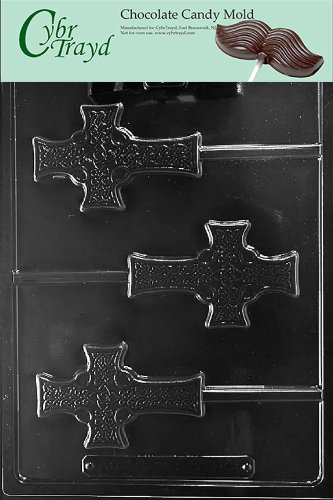 Cybrtrayd R074 Celtic Cross Lolly Chocolate Candy Mold with Exclusive Cybrtrayd Copyrighted Chocolate Molding Instructions plus Optional Candy Packaging Bundles