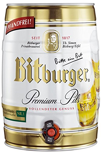 4x Bitburger Pils Prima 5 litros partido barril 4,8% vol.