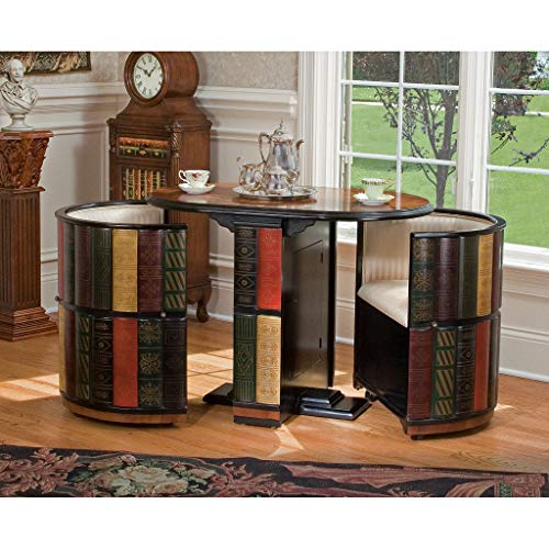 """Design Toscano Nettlestone Library Nested Table and Chair Set with Storage MDF Wood, 41"""", Full Color"""