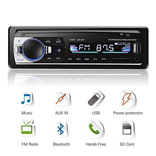 Radio USB Coche Bluetooth, 4X60W Autoradio Con Audio En Estéreo Frecuencia FM, Reproductor De Mp3 USB/SD/AUX Manos Libres Con Control Remoto Y Mando