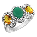 14K White Gold Natural Cabochon Emerald & Citrine 3-Stone Ring Oval Diamond Accent, size 7