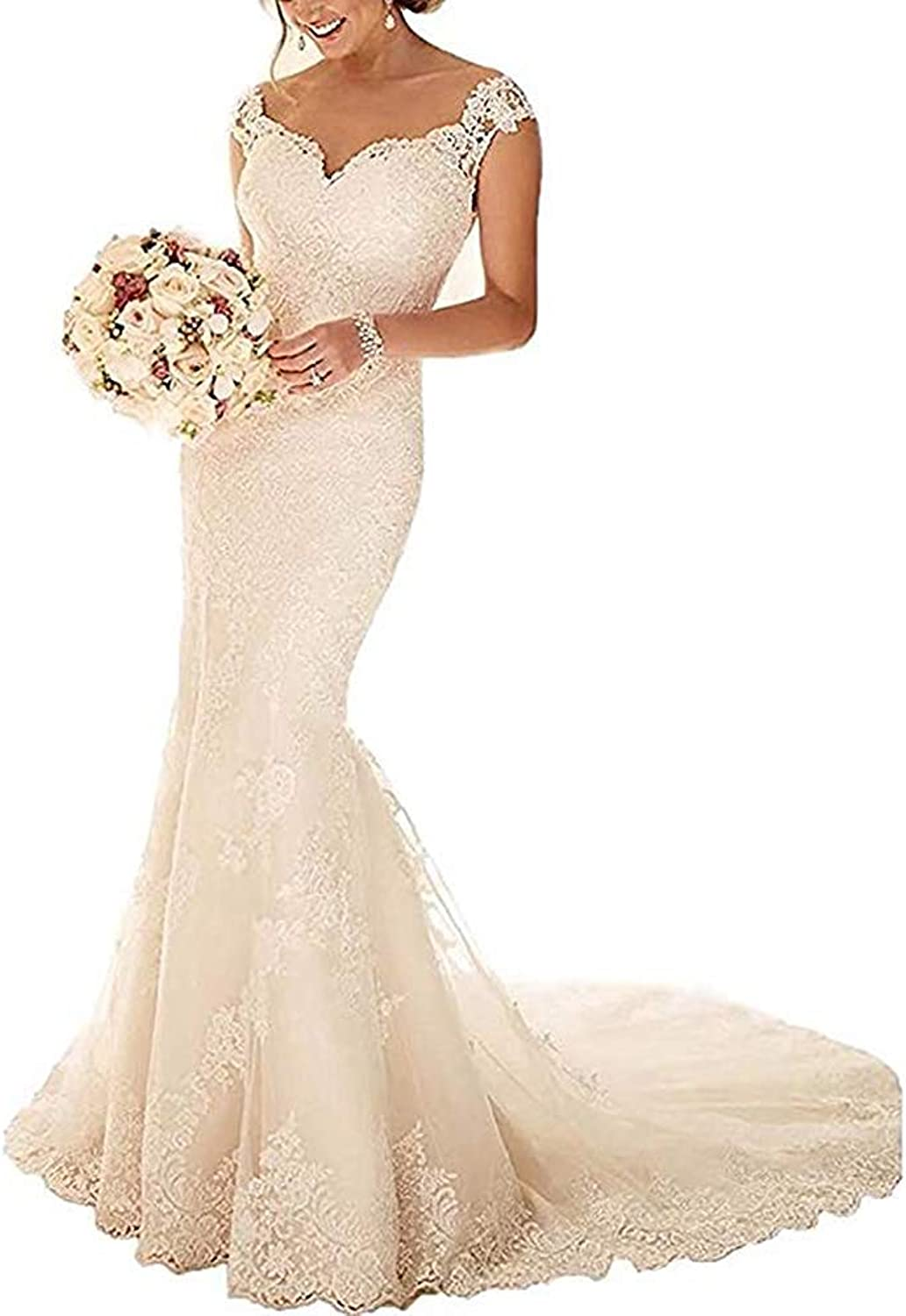 Alexzendra Mermaid Lace Wedding Dresses for Bride 2018 Sweetheart Neck Long Bridal Gowns