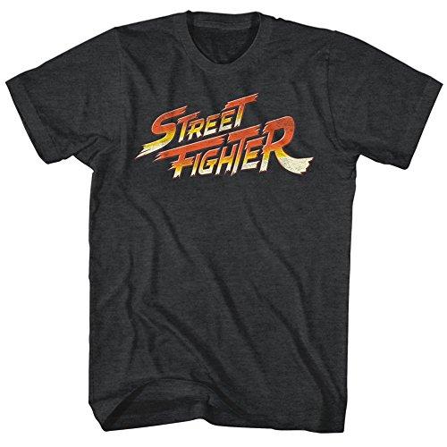 Street Fighter Playera con Logo Video Martial Arts Arcade Game para Adulto Negro Negro (M