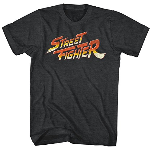 Street Fighter Playera con Logo Video Martial Arts Arcade Game para Adulto Negro Negro (M