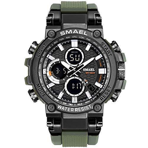 SMAELBand Digital Army Watch Men LED Sportuhren wasserdichte Uhr Militärarmbanduhr für Herren,ArmyGreen
